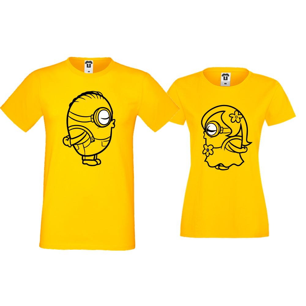 Жълти тениски за двойки Minions