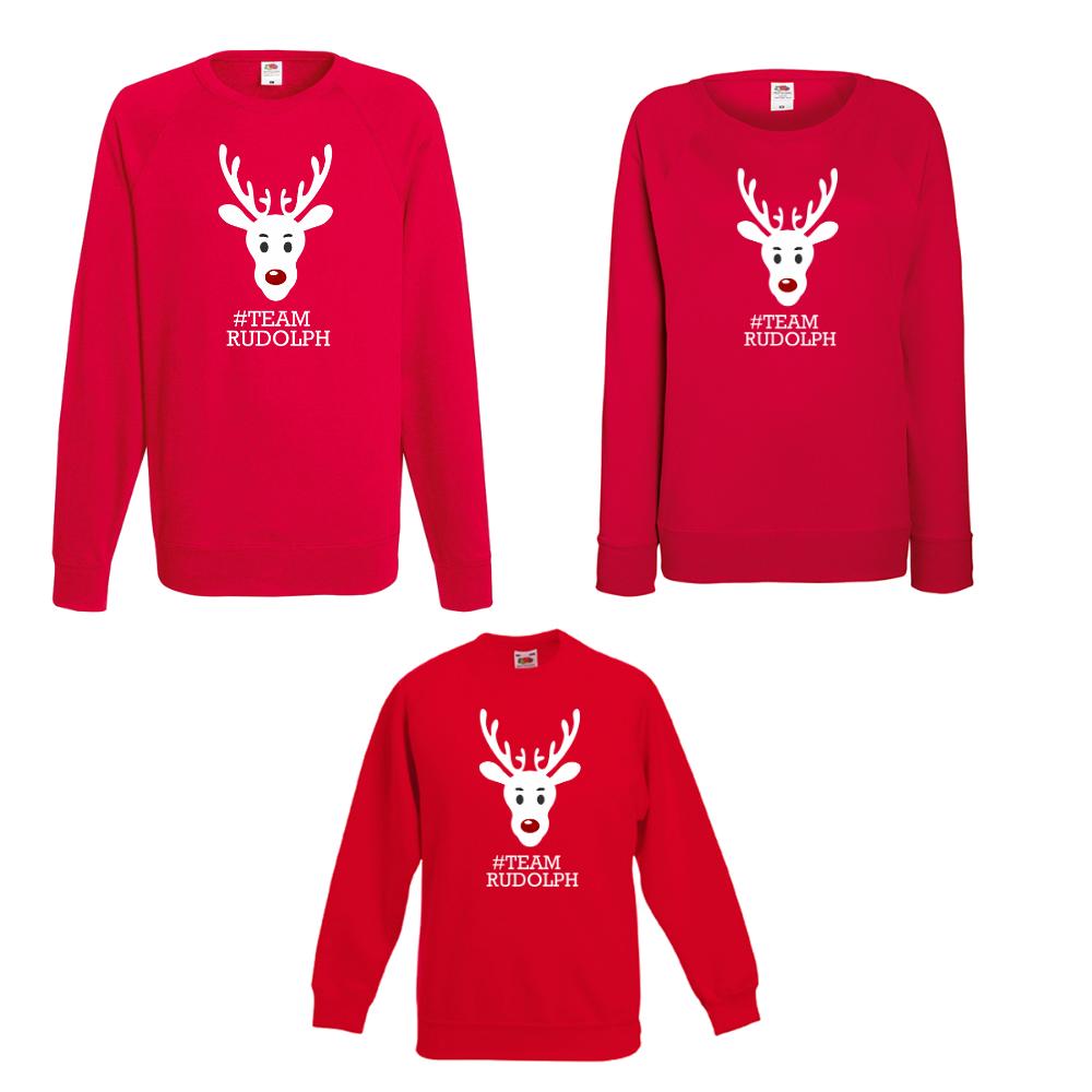 Комплект блузи мама, татко и дете #Team Rudolph