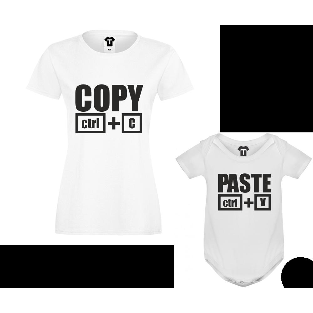 Комплект - Дамска тениска и бебешко боди Copy - Paste