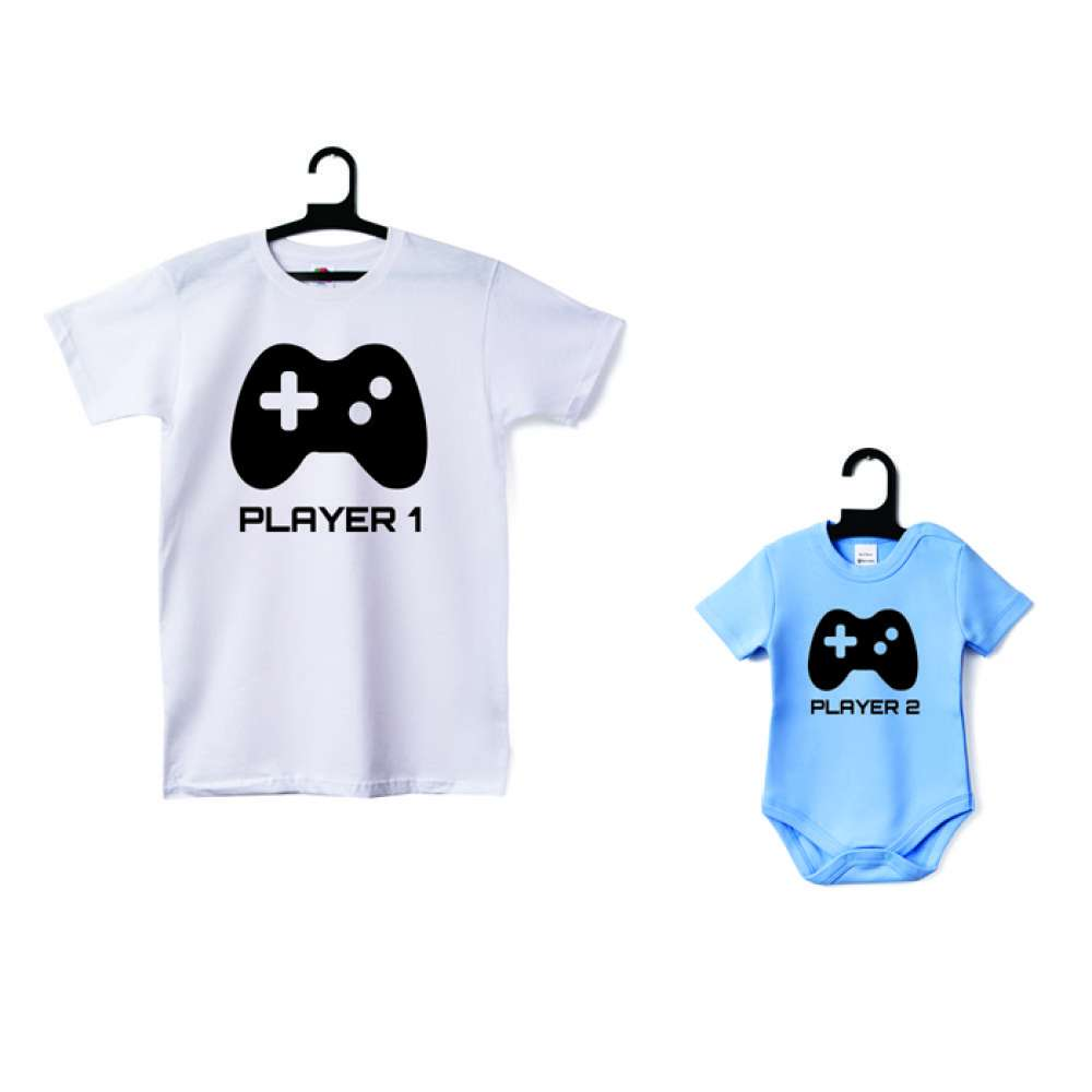 Комплект - Мъжка тениска и бебешко боди Player 1 - Player 2