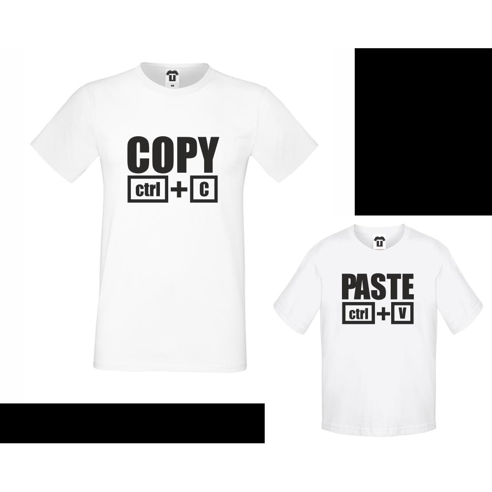 Комплект - Мъжка тениска и детска тениска Copy - Paste