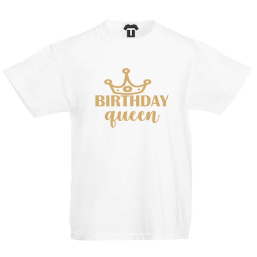 Детска бяла тениска Birthday Queen