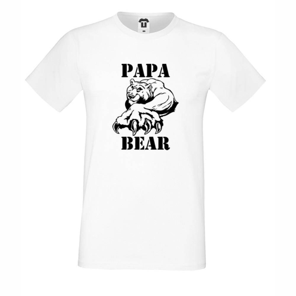 Мъжка бяла или черна тениска Papa Bear