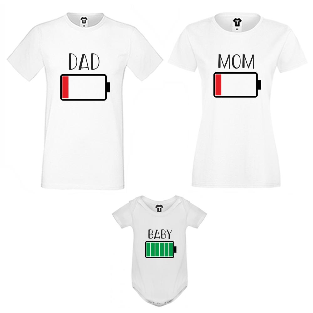 Семеен комплект тениски в черно Battery Low