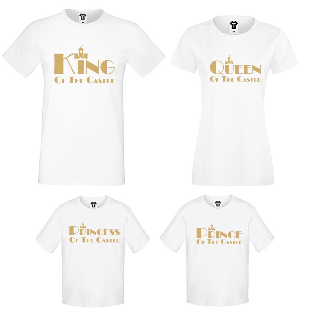 Семеен комплект тениски в черно или бяло King, Queen, Prince and Princess of the castle