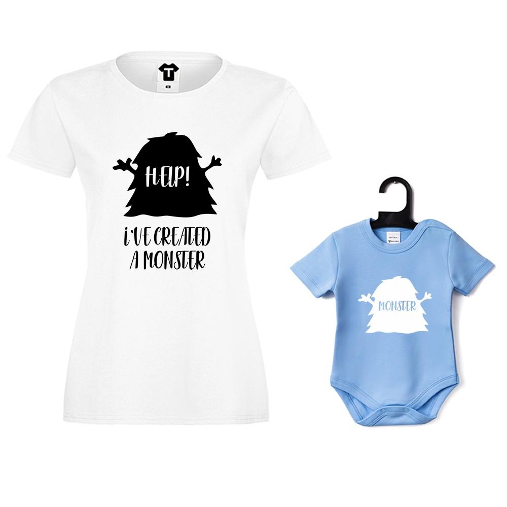 Дамска тениска и синьо бебешко боди Help! I have created a monster