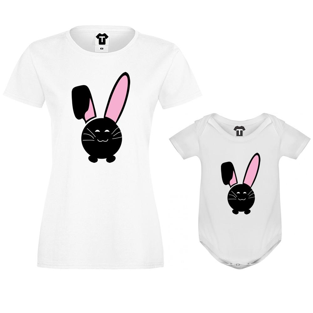 Дамска тениска и бебешко боди Bunny Smile