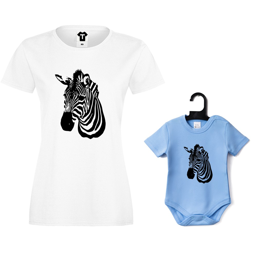 Дамска тениска и бебешко боди Zebra
