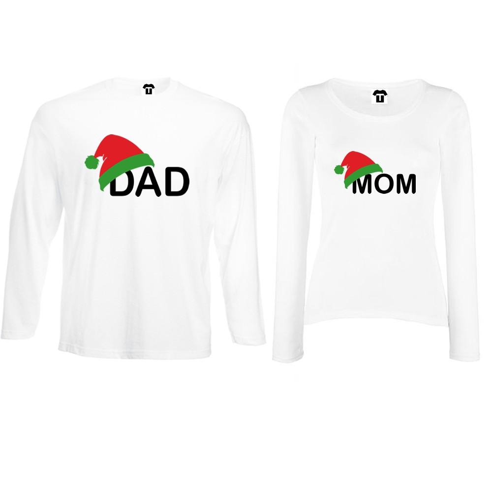 Комплект бели или черни тениски за двойки с дълги ръкави Family Christmas Hats