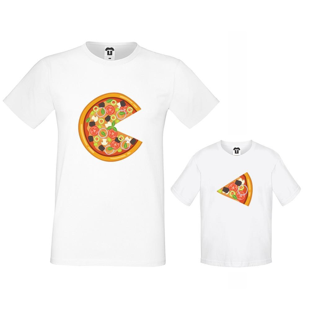 Комплект бели тениски за баща и дете Pizza Slices