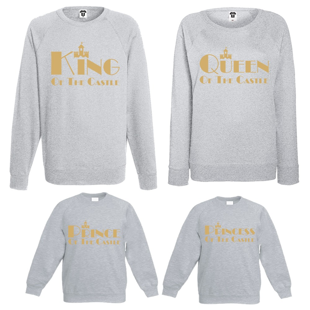 Комплект блузи мама, татко и деца King, Queen, Prince and Princess of the castle