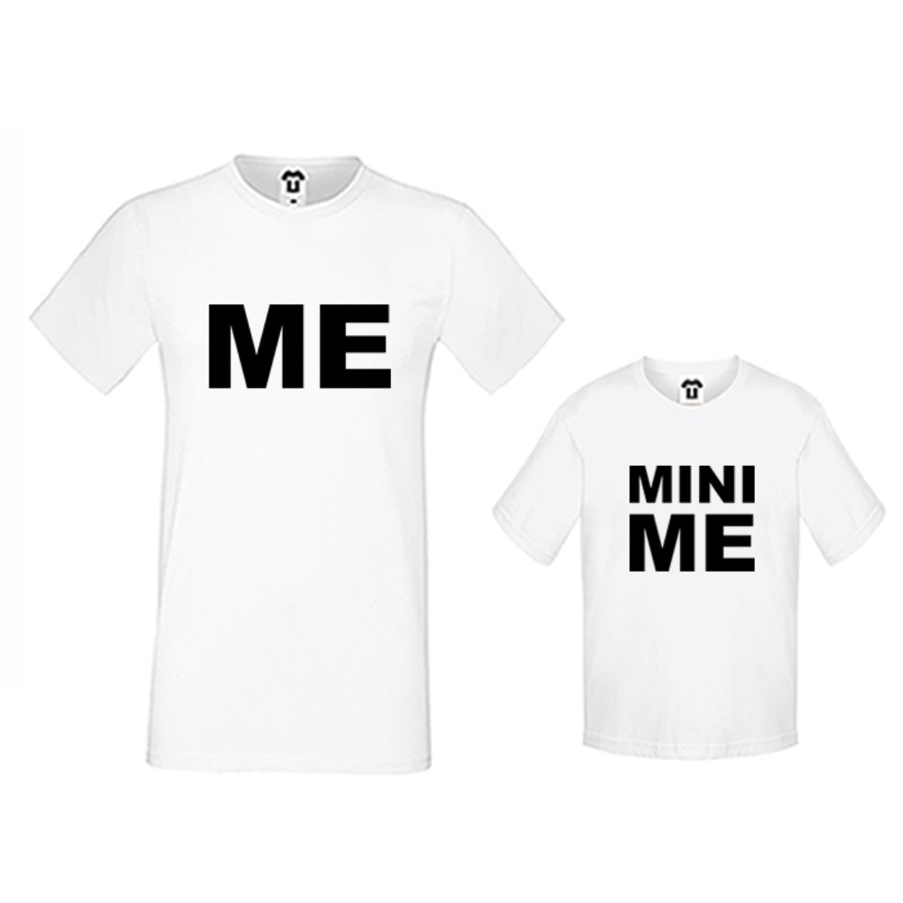 Комплект в бяло или черно - Мъжка тениска и детска тениска Me and Mini Me