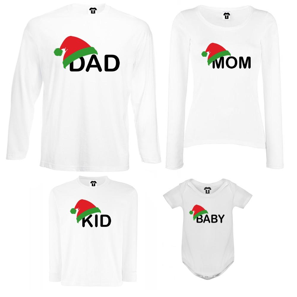 Семеен комплект тениски с дълги ръкави и бебешко боди в бяло или черно Family Christmas Hats