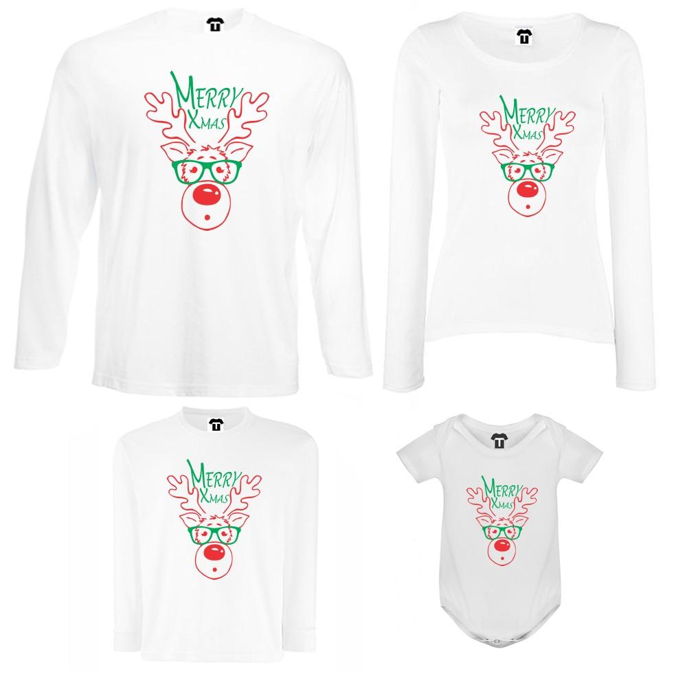 Семеен комплект тениски с дълги ръкави и бебешко боди в бяло или черно Merry Christmas