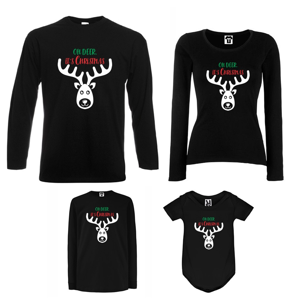 Семеен комплект тениски с дълги ръкави и бебешко боди в бяло или черно Oh Deer It's Christmas