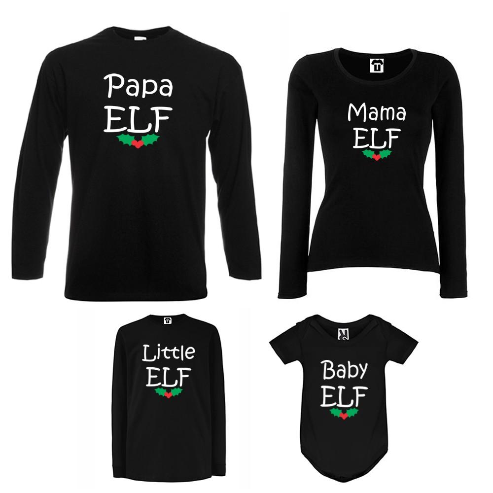 Семеен комплект тениски с дълги ръкави и бебешко боди в бяло или черно Papa, Mama, Little and Baby Elf