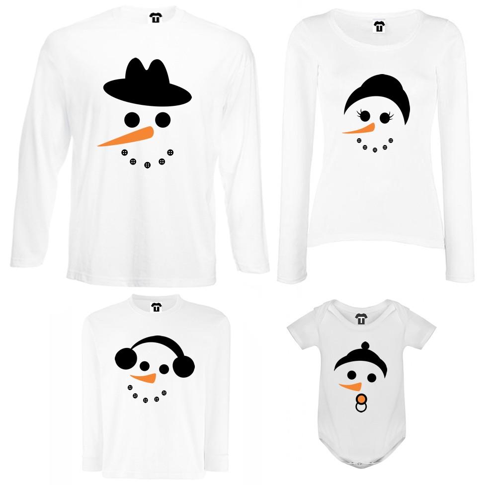 Семеен комплект тениски с дълги ръкави и бебешко боди в бяло или черно Snow Family