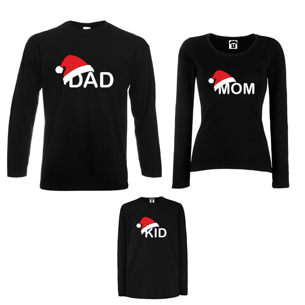 Семеен комплект тениски с дълги ръкави в бяло или черно Family Christmas Hats