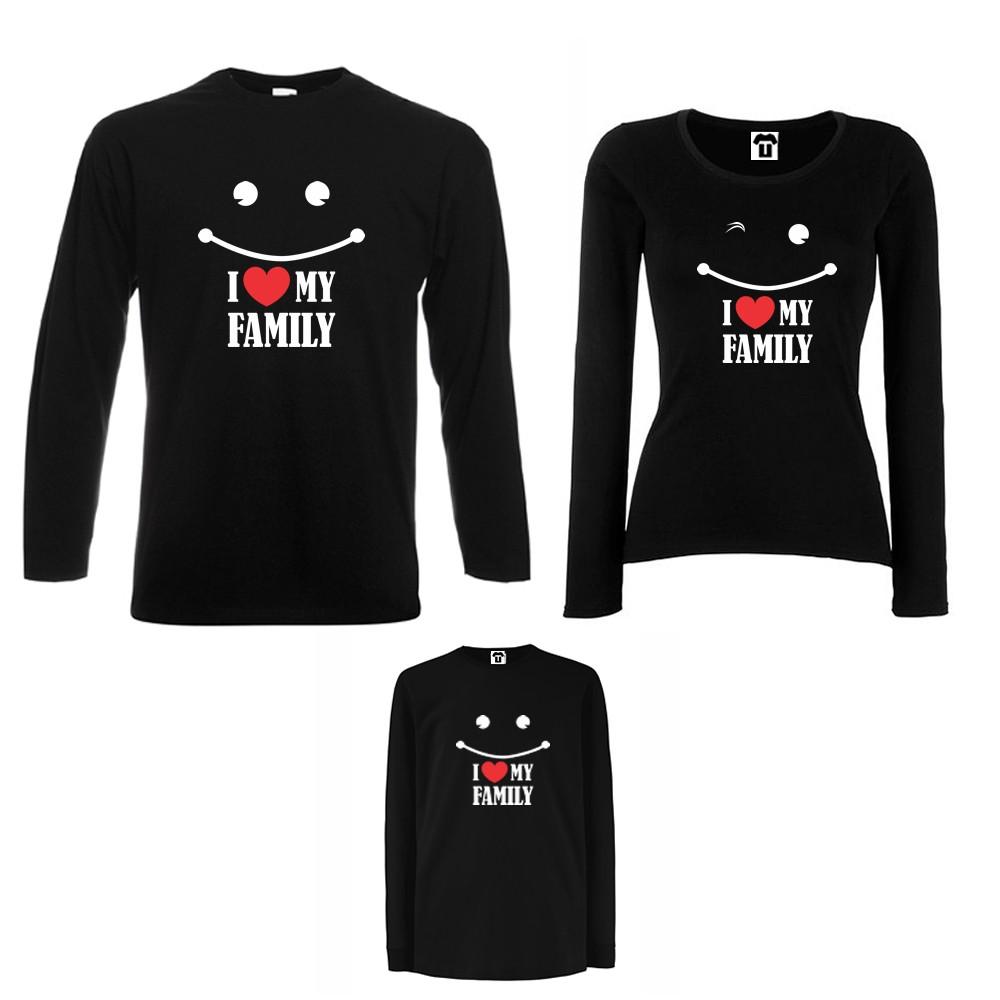 Семеен комплект тениски с дълги ръкави в бяло или черно I love my family