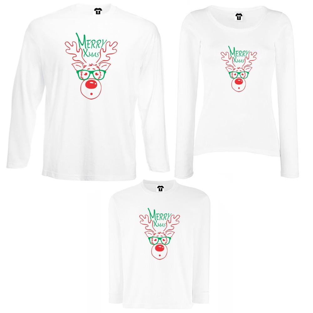 Семеен комплект тениски с дълги ръкави в бяло или черно Merry Christmas
