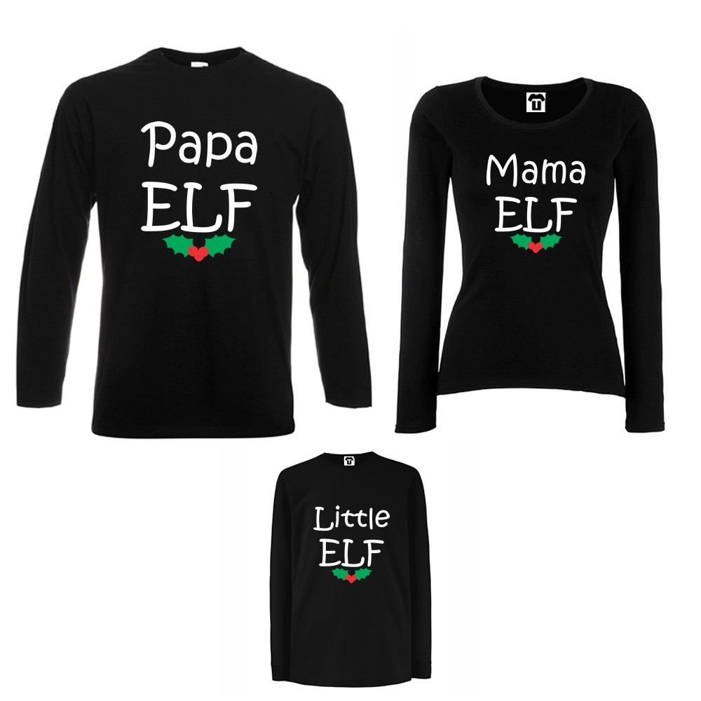 Семеен комплект тениски с дълги ръкави в бяло или черно Papa, Mama and Little Elf