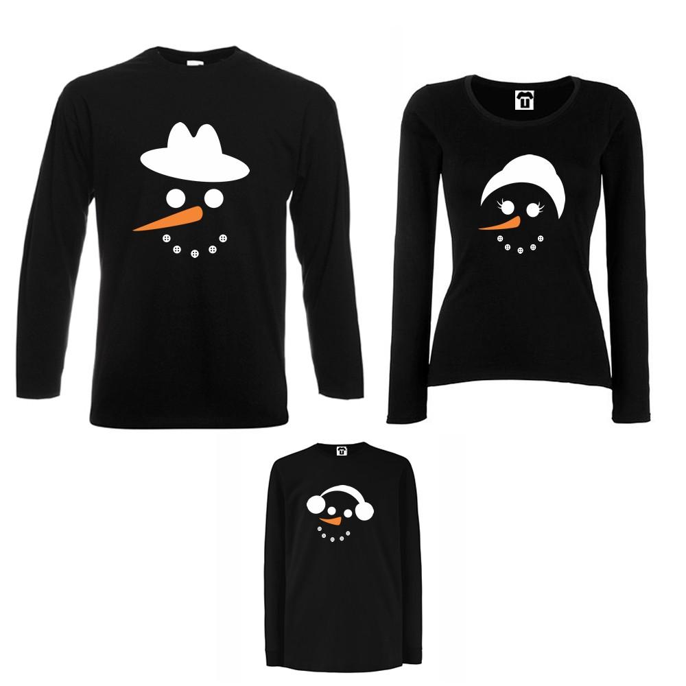 Семеен комплект тениски с дълги ръкави в бяло или черно Snow Family