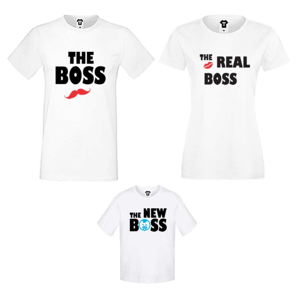 Семеен комплект тениски в бяло или черно The Boss, The Real Boss and The New Boss Boy