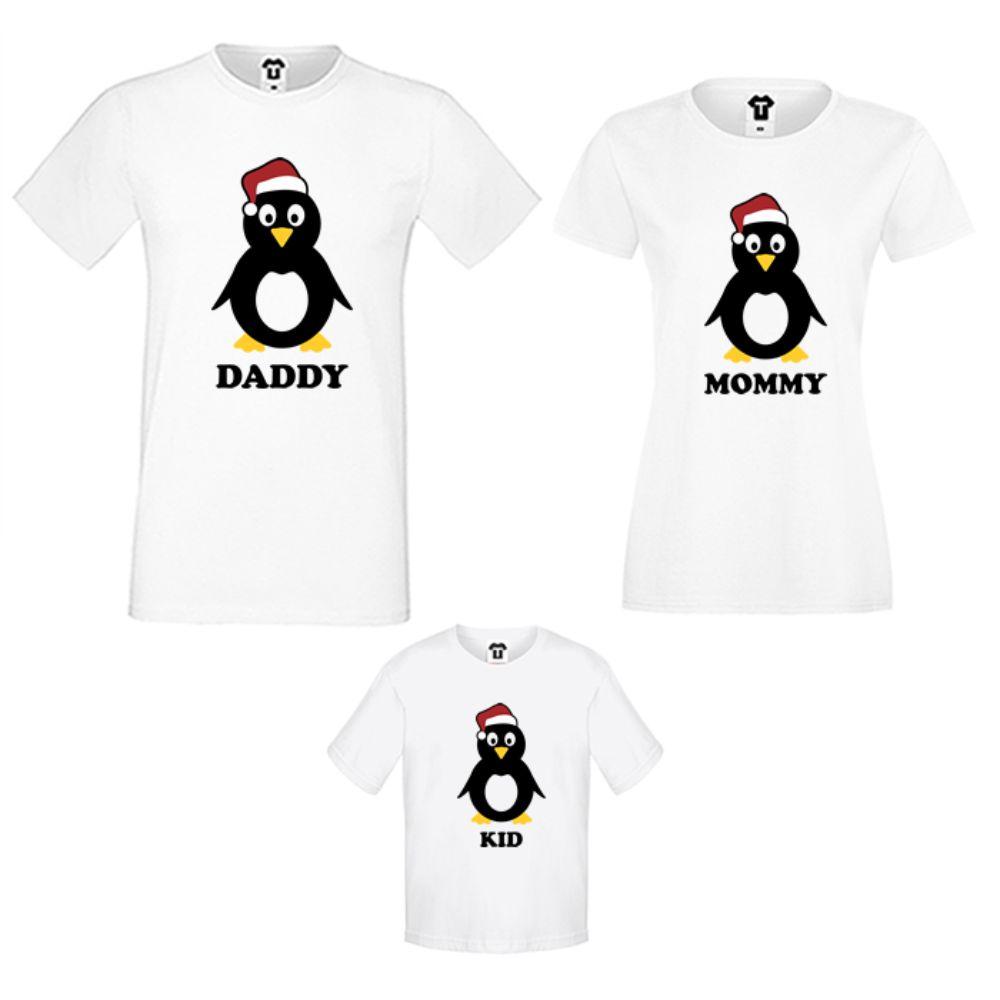 Семеен комплект тениски в бяло Penguin Family