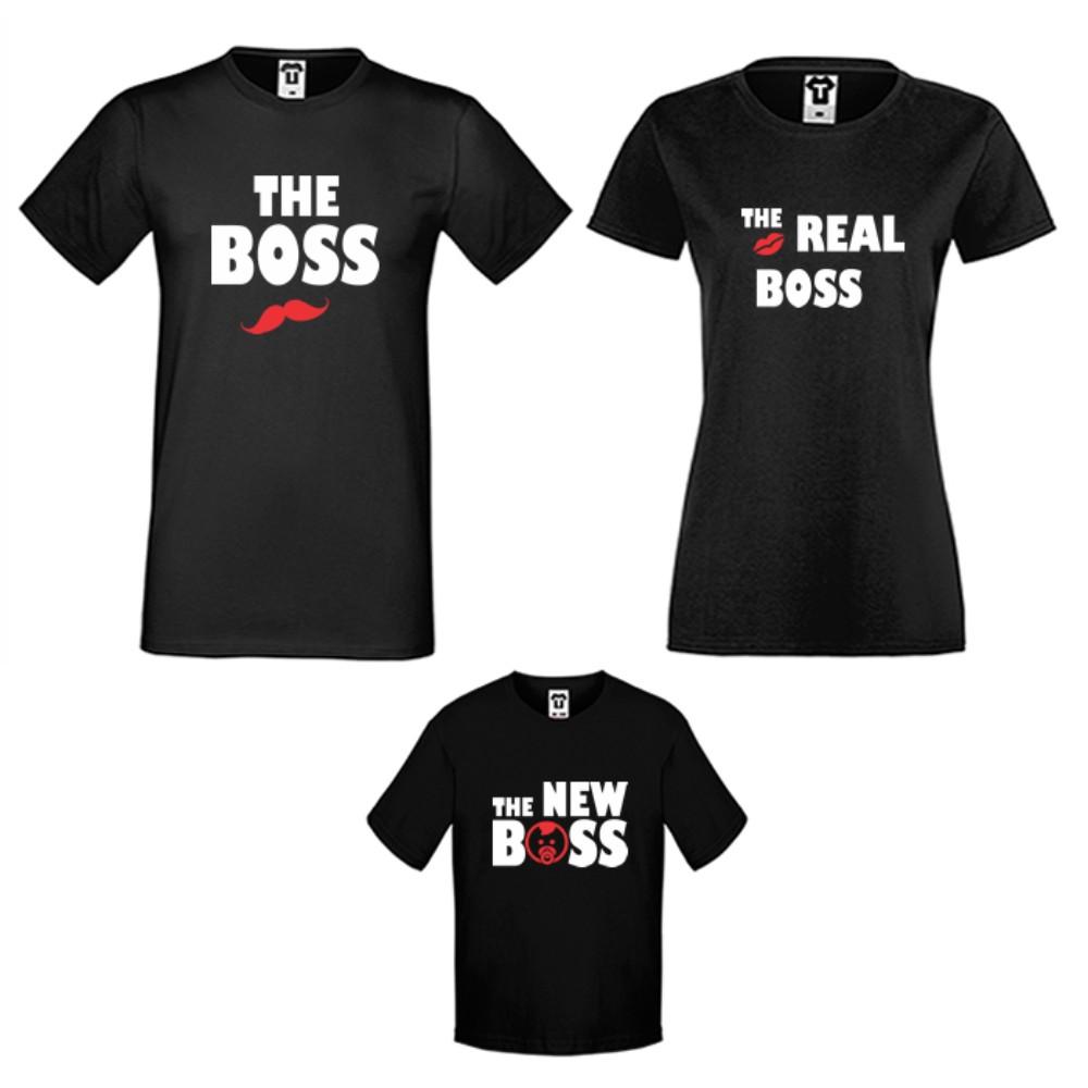 Семеен комплект тениски в черно или бяло The Boss, The Real Boss and The New Boss Girl