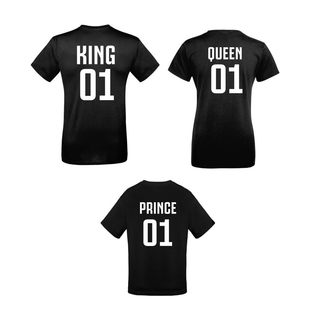 Семеен комплект тениски в черно King 01, Queen 01 и Prince 01