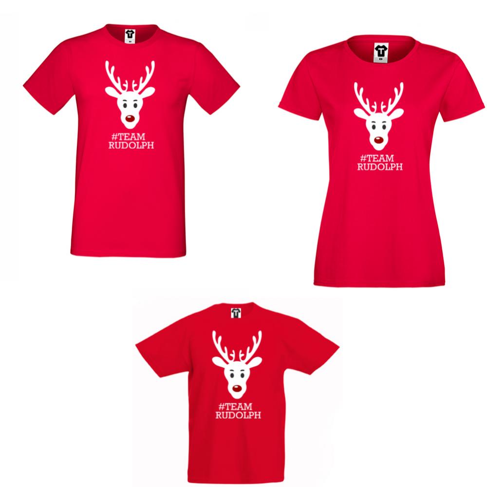 Семеен комплект тениски в червено #Team Rudolph