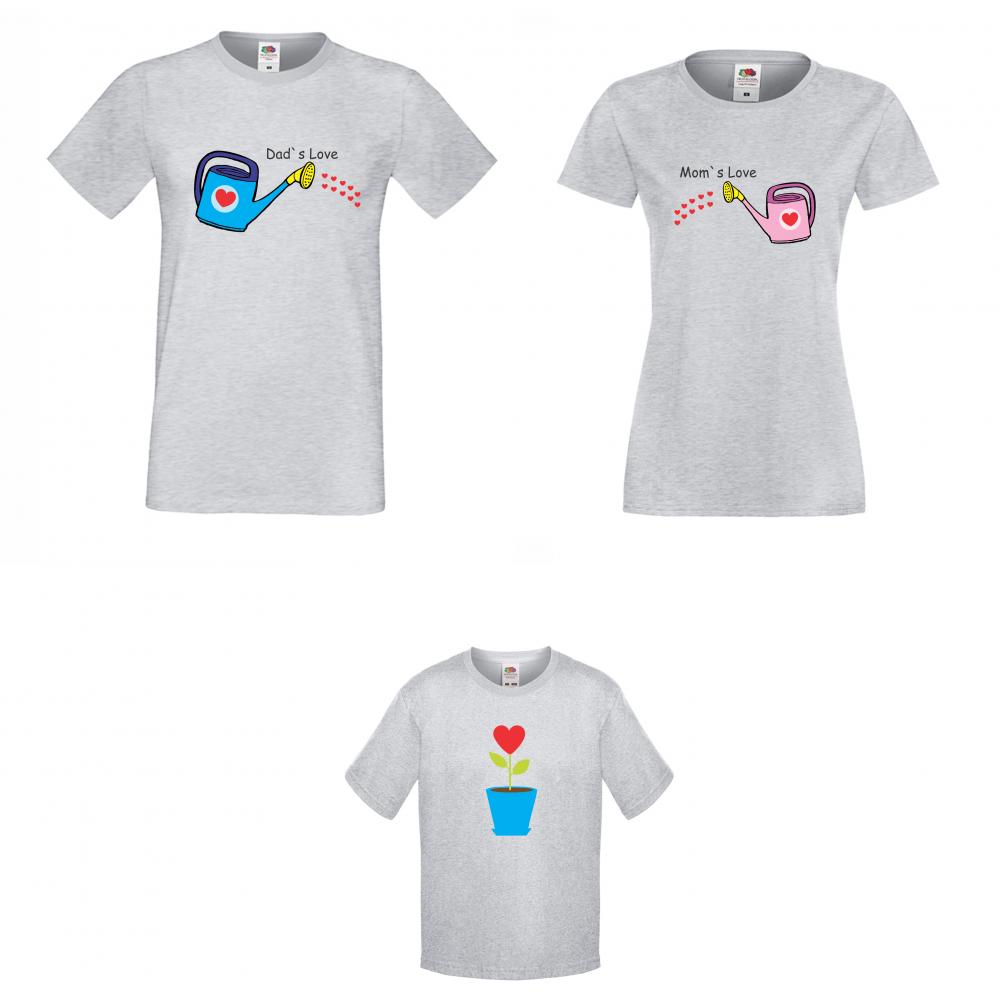 Семеен комплект тениски в сиво Little Flower