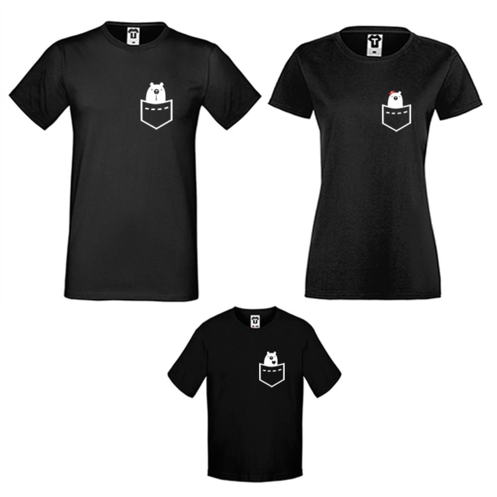 Семейни тениски в бяло или черно Pocket Bears