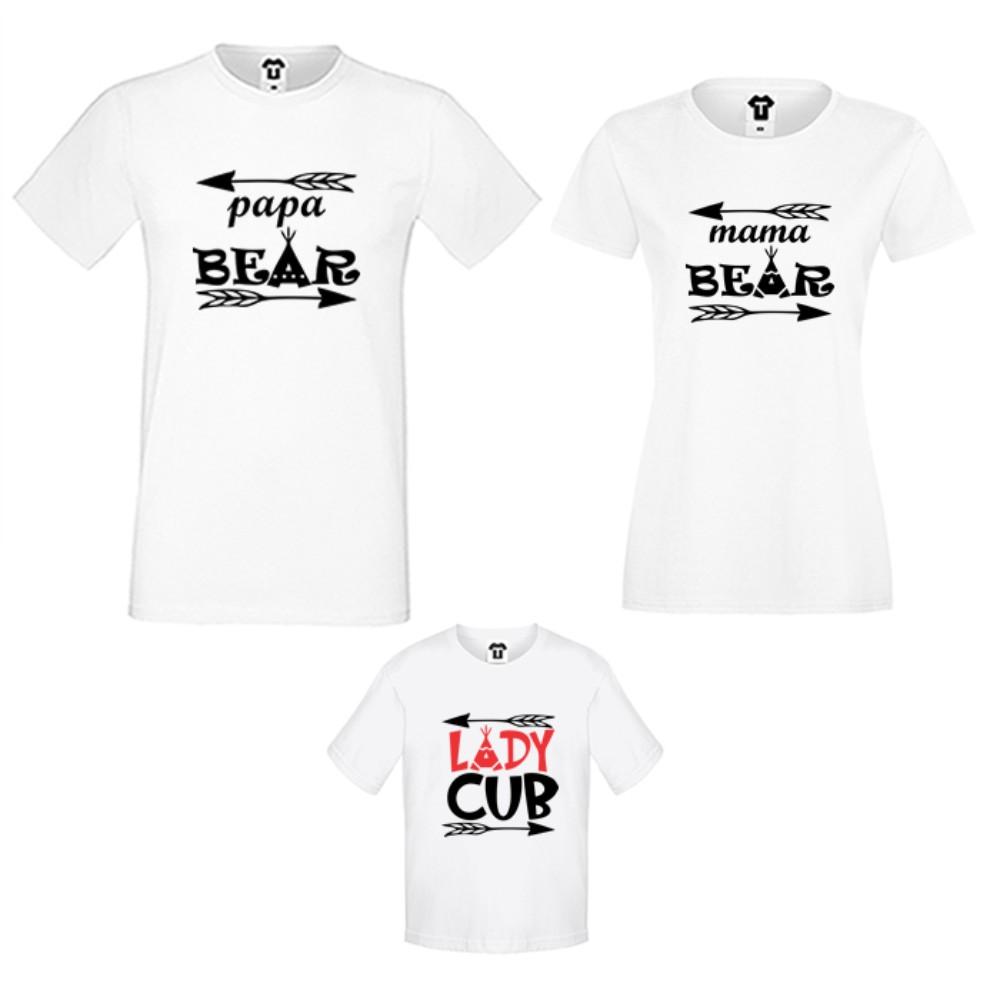 Семейни тениски в бяло или черно Bear Family