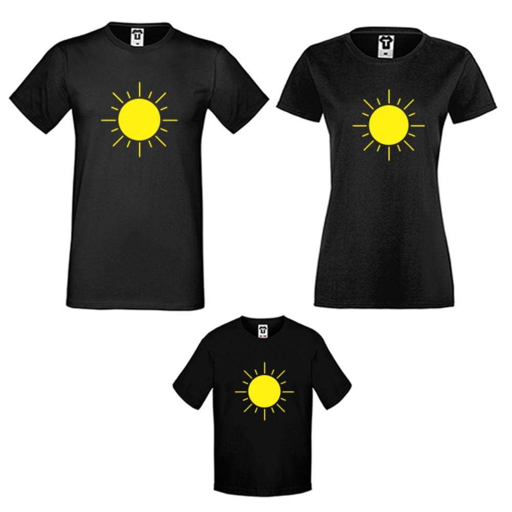 Семейни тениски в черно или бяло Sun Family