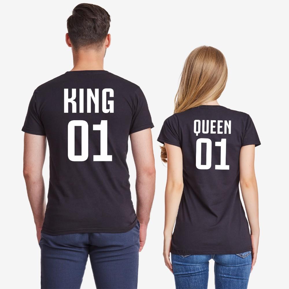 Тениски за двойки в черно или бяло King 01 и Queen 01