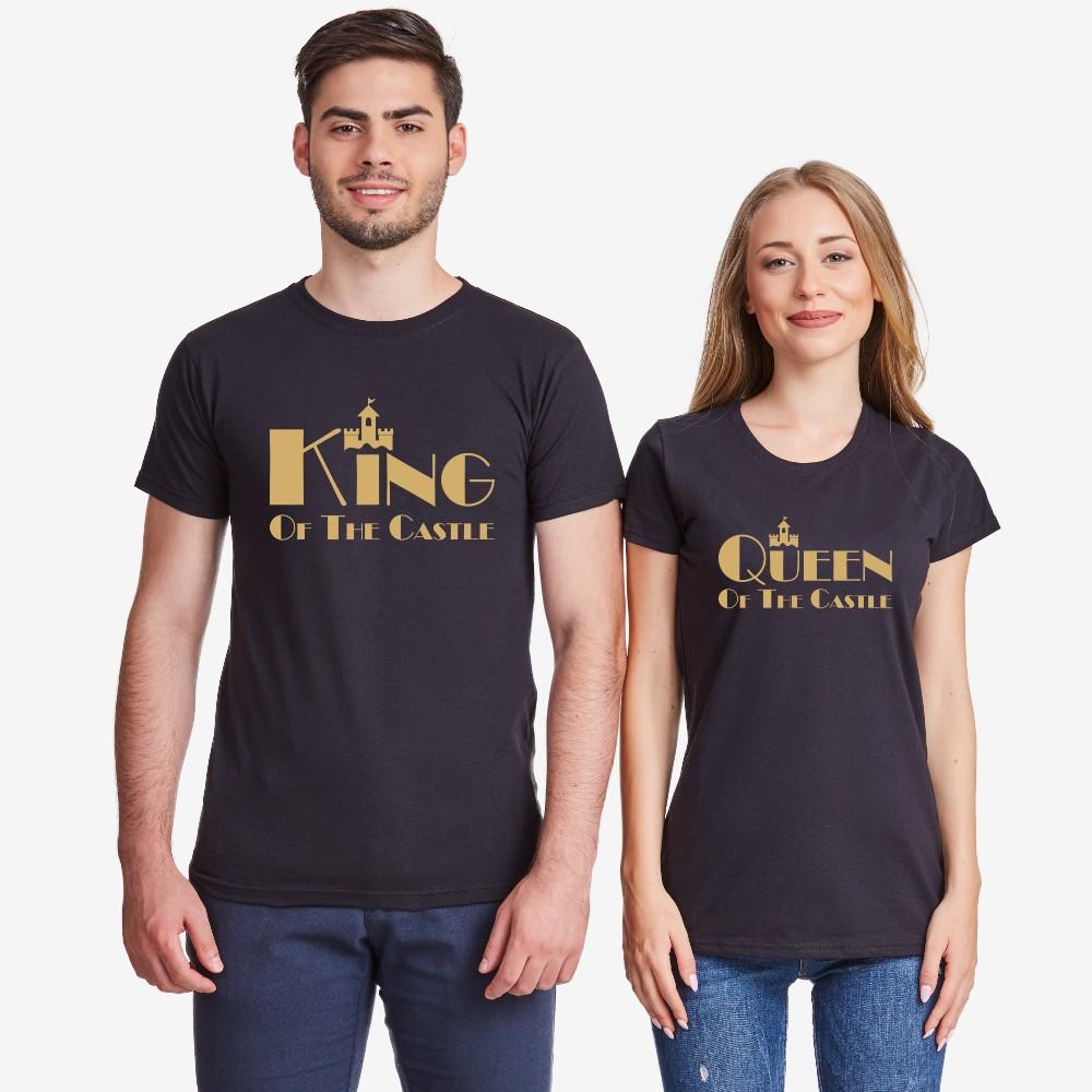 Тениски за двойки в черно или бяло King and Queen of the castle