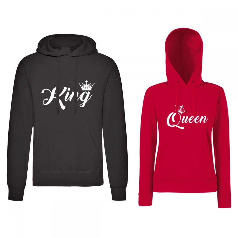 Черен и червен суитчер за двойки King and Queen