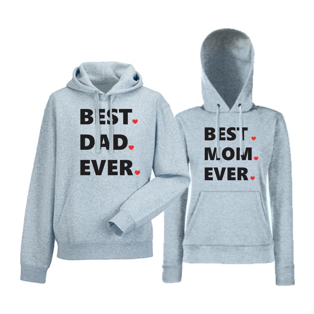 Комплект сиви суитчери за двойки Best Dad and Mom