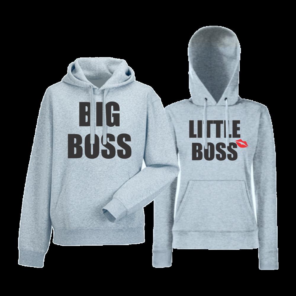 Комплект сиви суитчери за двойки  Big and Little Boss