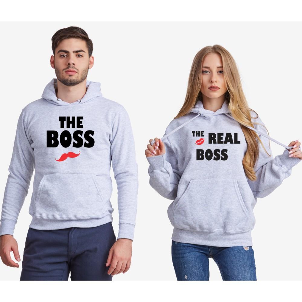 Комплект сиви суитчери за двойки The Real Boss Kiss