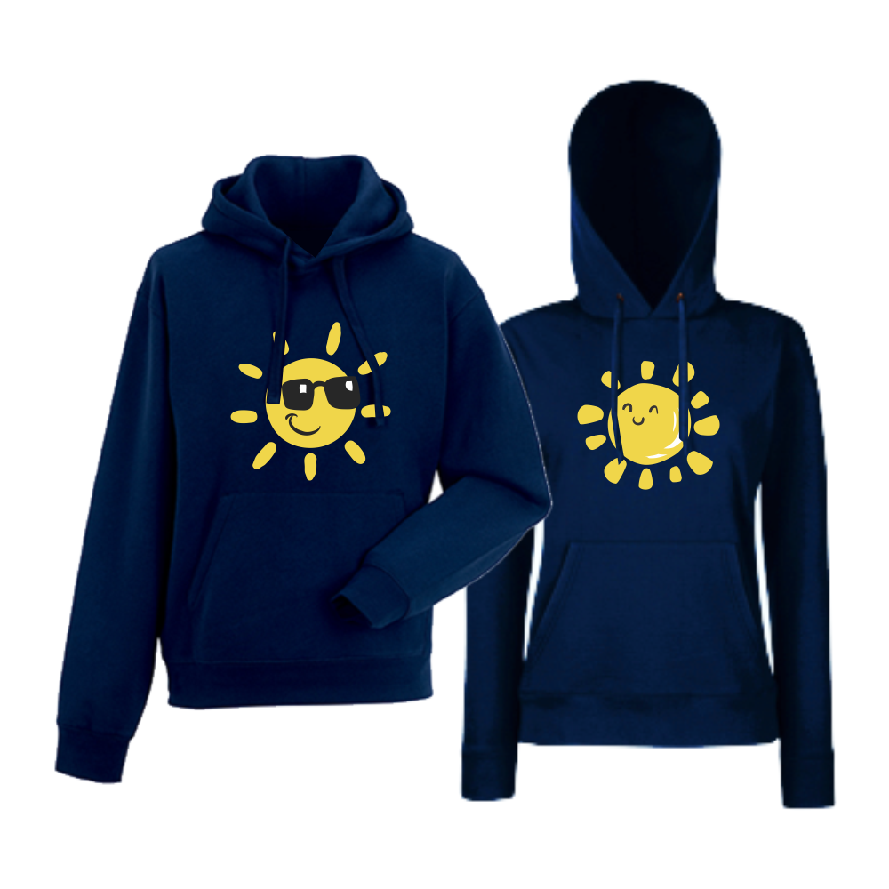 Комплект тъмно-сини суитчери Sun, Smile and Sunglasses