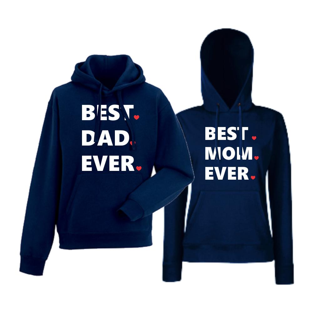 Комплект тъмно-сини суитчери за двойки  Best Dad and Mom