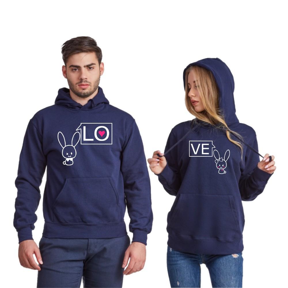 Комплект тъмно-сини суитчери за двойки LO-VE Bunny 2019