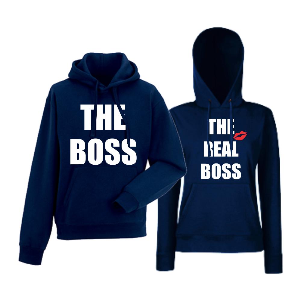 Комплект тъмно-сини суитчери за двойки  The Real Boss