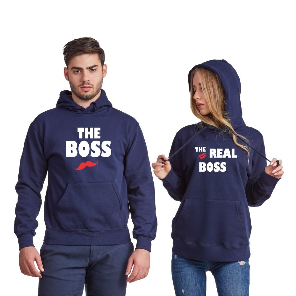 Комплект тъмно-сини суитчери за двойки The Real Boss Kiss