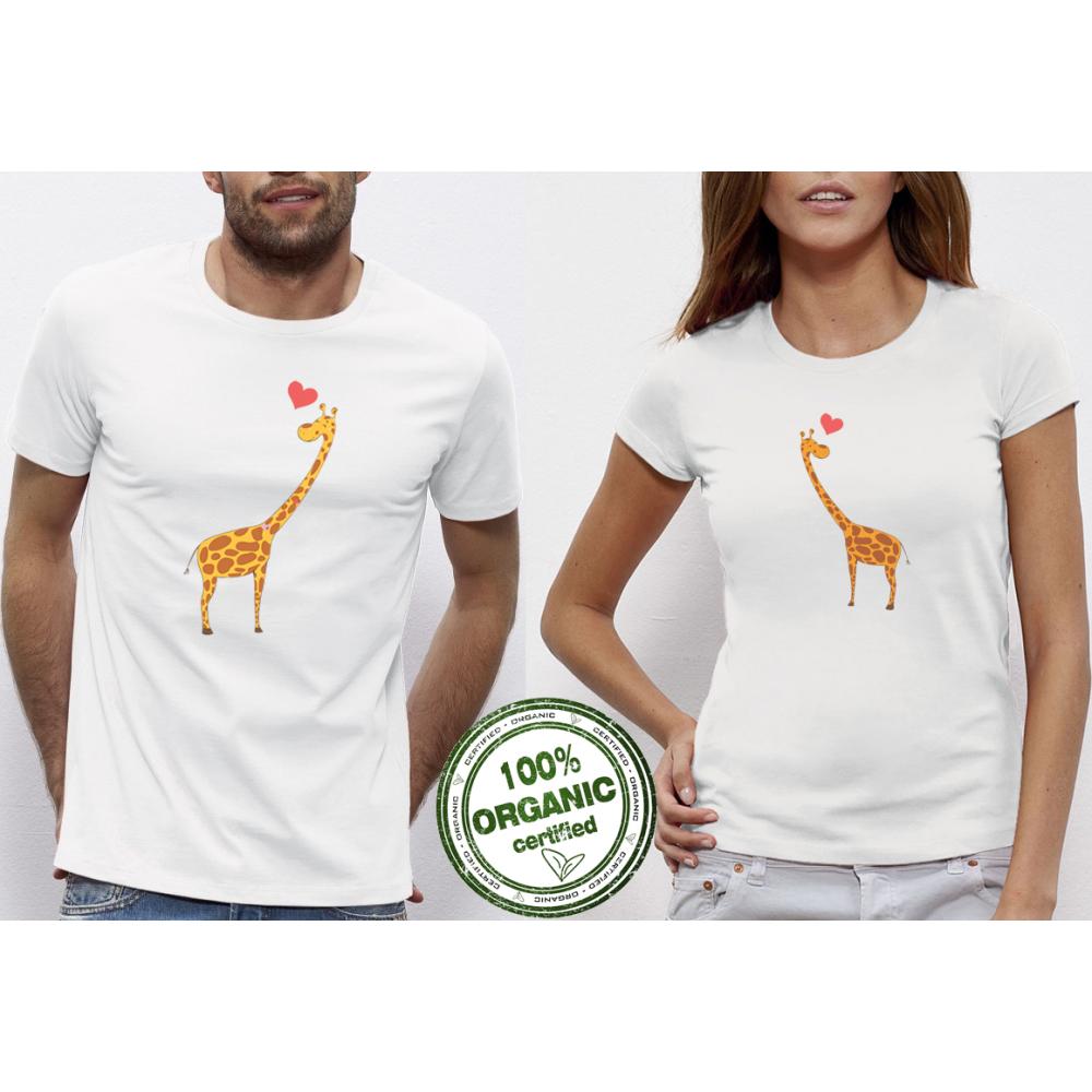Бели Тениски за двойки Giraffes in Love