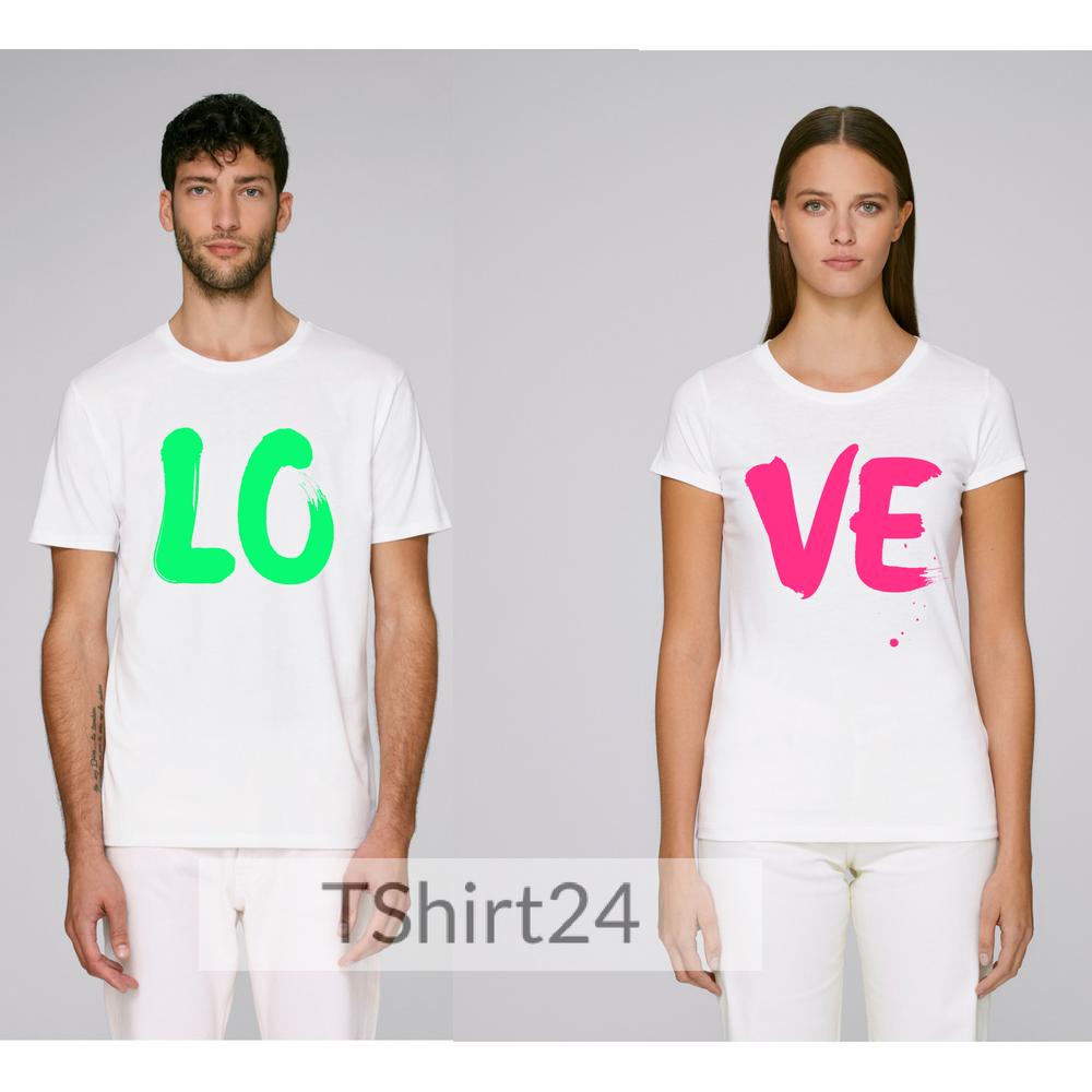 Бели Тениски за двойки LO - VE Colored