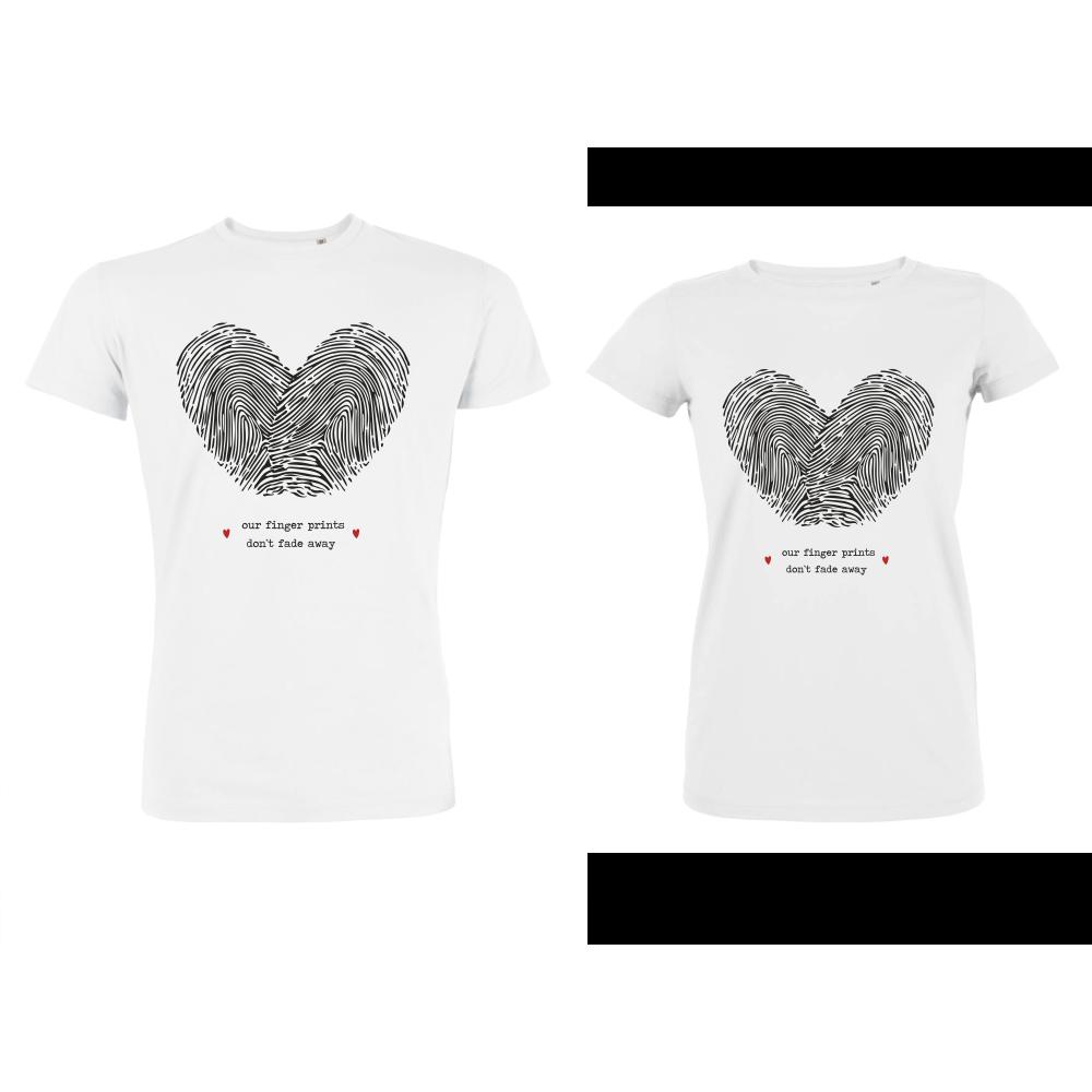 Бели тениски за двойки от органичен памук FingerPrints