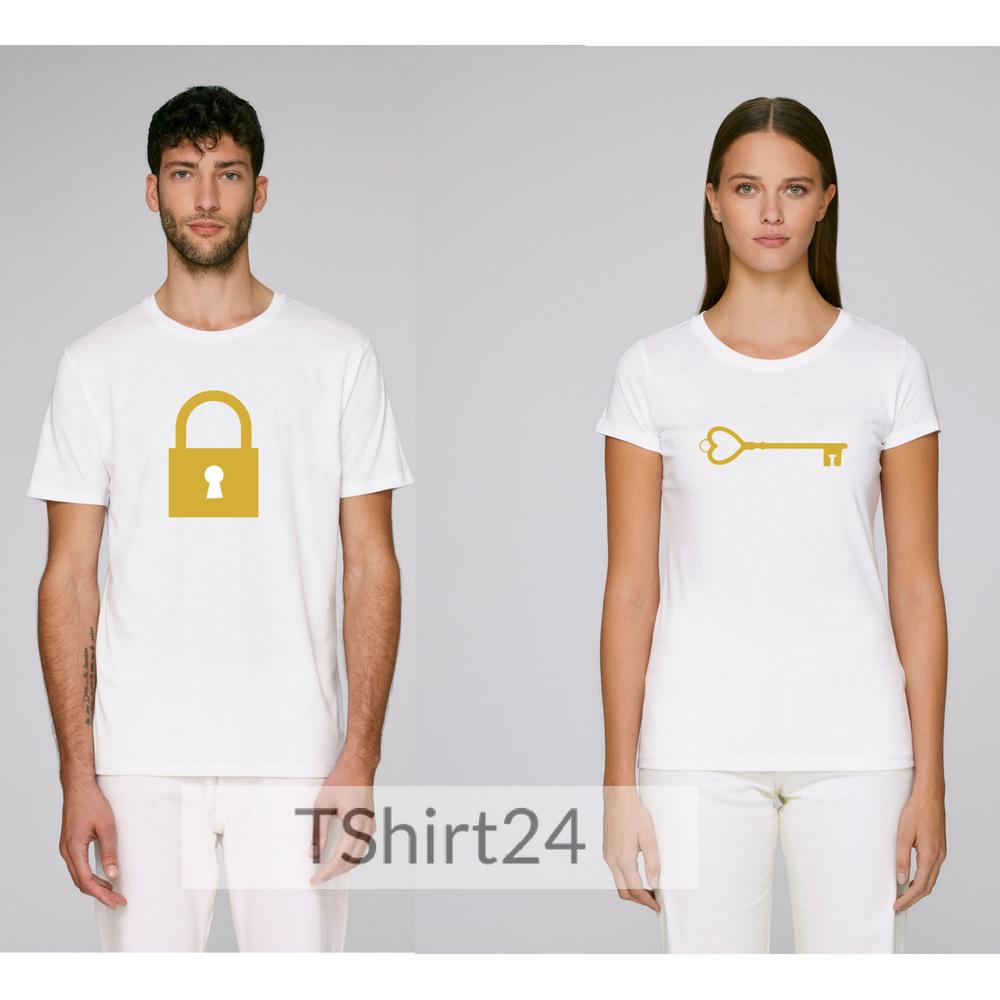 Бели тениски за двойки  от органичен памук The key to unlock